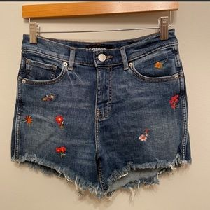Express High Rise Floral Embroidered Denim Shorts
